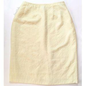 Vintage KASPER ASL Textured Yellow Pencil Skirt